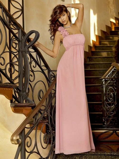 Hot-Selling Princess One-Shoulder Sleeveless Floor-length Chiffon Bridesmaid Dress