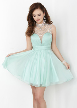 Lovely Mint High Neck Rhinestone Beaded Open Back Homecoming Dress 2015 [Hannah S 27059 Mint] – $188.00 : The Last Fashion Prom Dresses 2015 Online For Trends