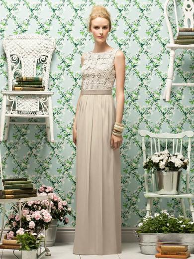 Sheath Bateau Sleeveless Chiffon Floor-Length Bridesmaid Dress With Lace