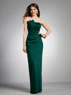 Sheath Strapless Pleats Floor-Length Satin Dress For Bridesmaid