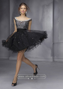 Short A Line Beaded Off The Shoulder Open Back Black Homecoming Dress [Mori Lee 9292 Black] – $180.00 : Prom Dresses 2015,Wedding Dresses & Gowns On Sale,Buy Homecoming Dresses From Ailsadress.com