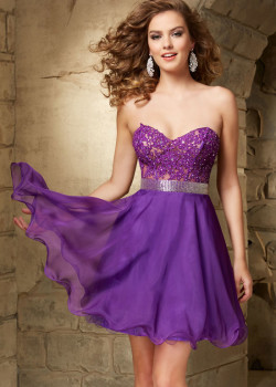 Strapless Purple Short Beaded Lace Applique Chiffon Party Dress [Mori Lee 9351 Purple] – $180.00 : Cheap Fall 2015 Homecoming Prom Dresses For Girl Online,Under $200