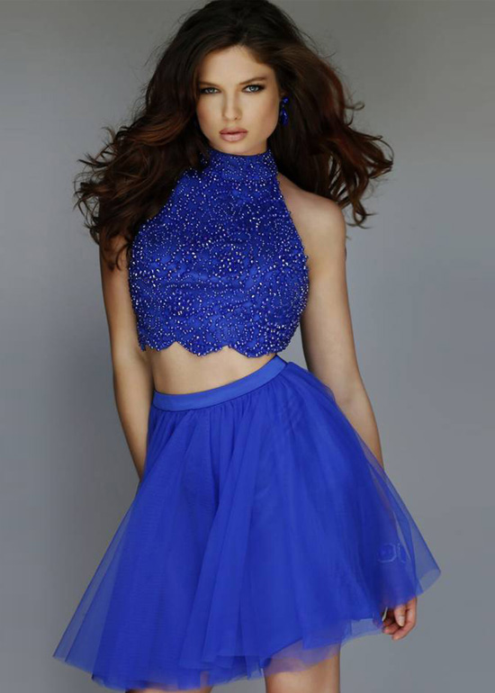 cbba71c27c9 Two Piece Beaded High Halter Neck Cut Out Open Back Royal Homecoming ...