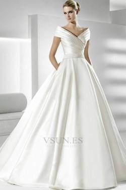 Vestido de novia Volantes Adorno Satén Iglesia Natural Tallas pequeñas – vsun.es