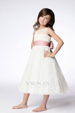 Vestido niña ceremonia Joya Arco Acentuado Sin mangas Formal Natural Hasta la Tibia – vsun.es