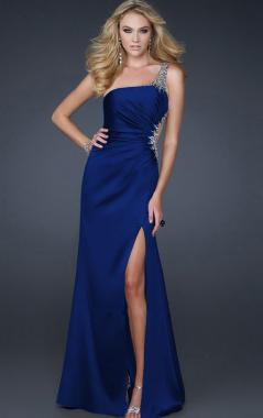 one shoulder blue sexy prom dress online