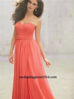 Cheap Strapless Ruched Chiffon Long Bridesmaid Dresses 2015