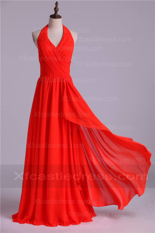 Halter Neck Ruched Long Red Chiffon Bridesmaid Dresses BRXF45