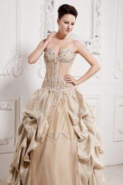 Vestido de novia colores Sin tirantes Encaje Bola Reloj de Arena Sala Espalda medio descubierto – vsun.es