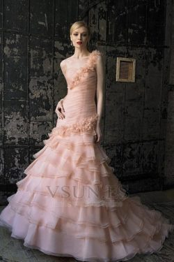 Vestido de novia rosa Sin mangas Blusa plisada Formal Espalda medio descubierto – vsun.es