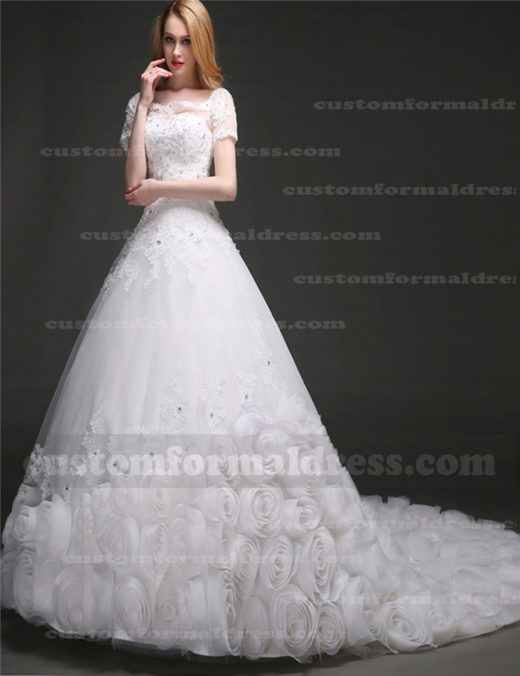 A Line Beaded Floral Lace Ball Gown Wedding Dresses with Short Sleeves WECT004