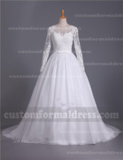 A Line Lace Long Sleeve Ball Gown Wedding Dresses WEXF54