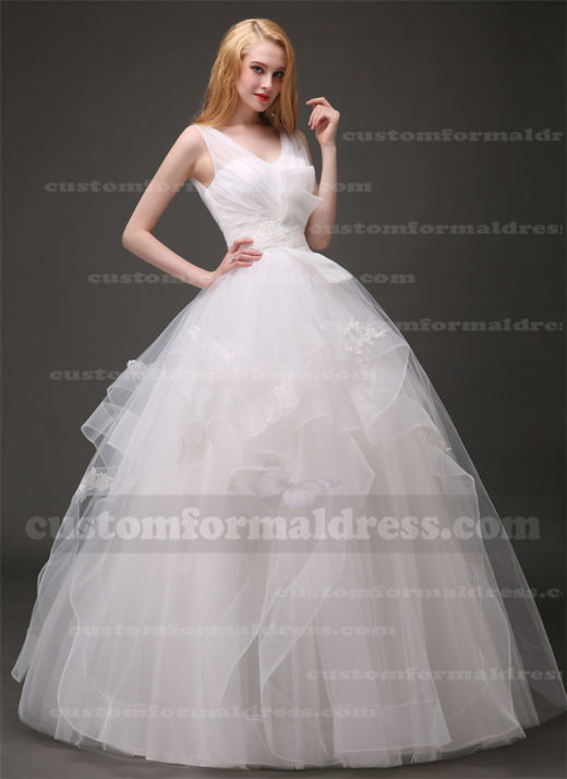 A Line Lace Ruffled Ball Gown Wedding Dresses Pleated V Neck WECT002