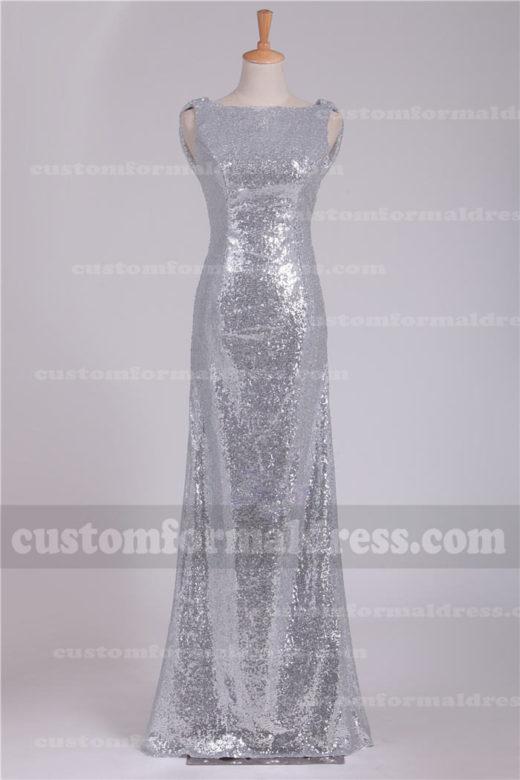 2017 Bateau Neck Long Silver Sequined Evening Dresses Bridesmaid Dresses XFRE57