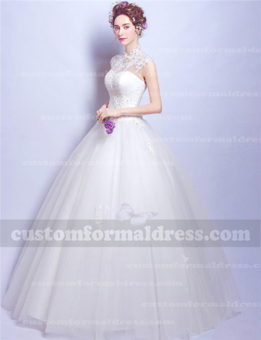 2017 Beaded A Line Collared Neck Lace Ball Gown Wedding Dresses WECT058
