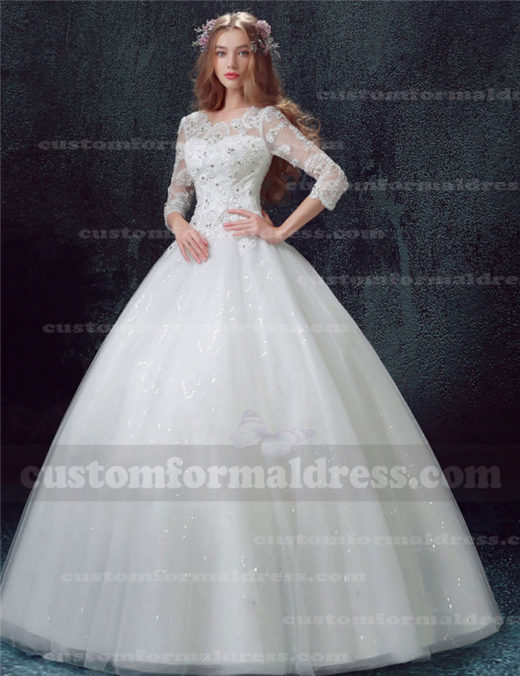 2017 Beaded Lace Long Sleeved Ball Gown Wedding Dresses WECT018