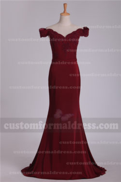 Burgundy Lace Off the Shoulder Bridesmaid Dresses/Evening Dresses with Sleeves EVXF648