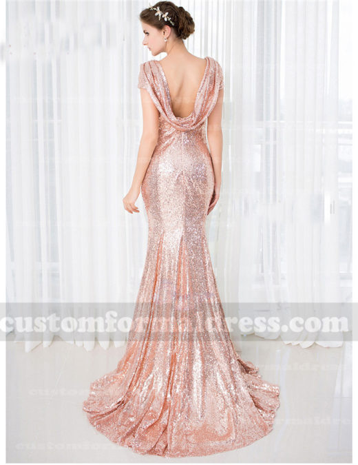 Crowl Back Sequin Bridesmaid Dresses Mermaid Evening Gowns BRCT07