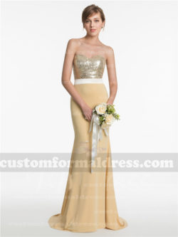 Light Gold Sequin Mermaid Bridesmaid Dresses Strapless Evening Gowns BRCT14