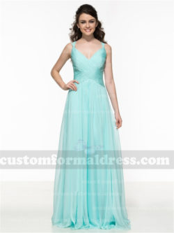 Long Blue Pleated Bridesmaid Dresses Chiffon Prom Gowns BRCT12