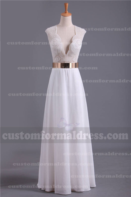 Long White Beaded Prom Dresses V Neckline LOXF168