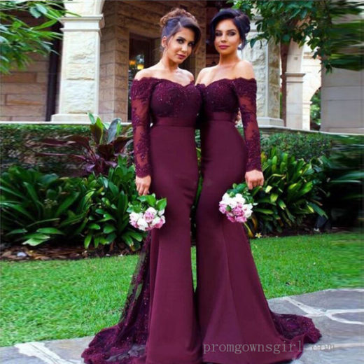 2017 Off the Shoulder Mermaid Bridesmaid Dresses Lace Long Sleeve Evening Gowns #BKS0243