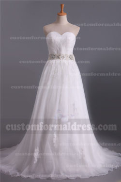 2017 A Line Wedding Dresses Sweetheart Lace Bridal Gowns with Sweep Train DWR304