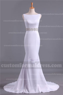 Beaded White High Neck Bow Mermaid Prom Dresses LOXF185