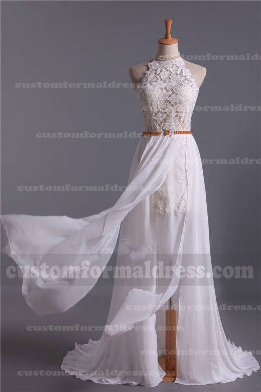 Cheap Ivory Lace Halter Neck Long Split Wedding/Prom Dresses with Open Back LOXF62