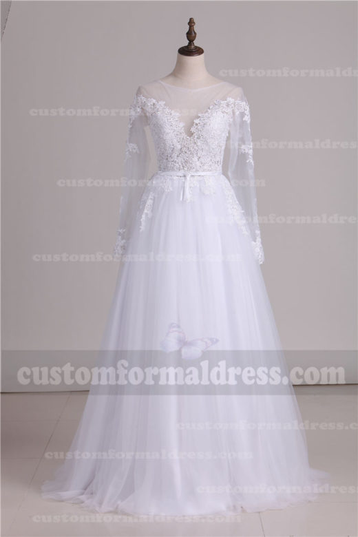 2017 Lace Long Sleeve Wedding Dresses Open Back Tulle Bridal Dresses DWR320