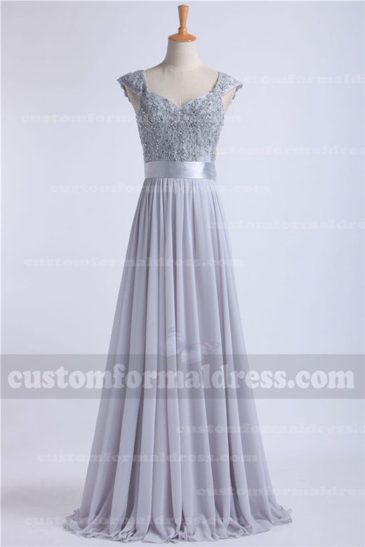 2016 Lace Silver Gray Long Prom Dresses Chiffon Sweetheart Bridesmaid Dresses