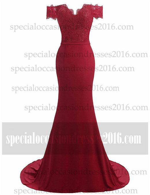 2017 Off the Shoulder Lace Mermaid Bridesmaid Dresses #BKTJF06
