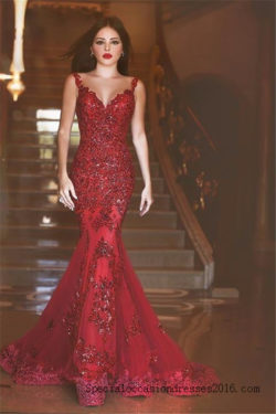 Red Lace Mermaid Evening Dresses Bling Bling Formal Gowns #BKTJ199
