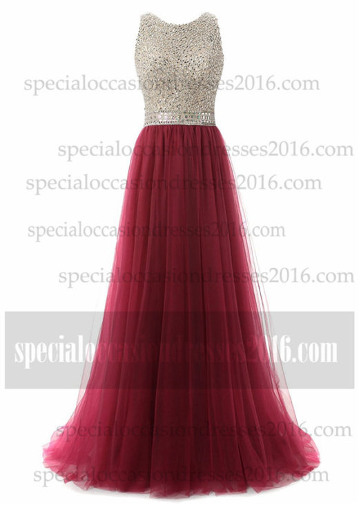2017 Sequin Long Prom Dresses Tulle High Neck Evening Gowns #BKTJF01