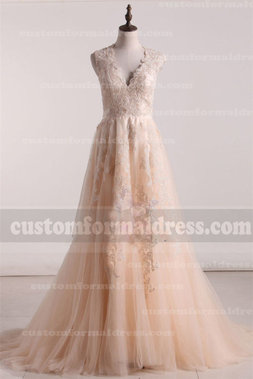2017 V Neck Lace Wedding Dresses Champagne Tulle Bridal Gowns DWR999