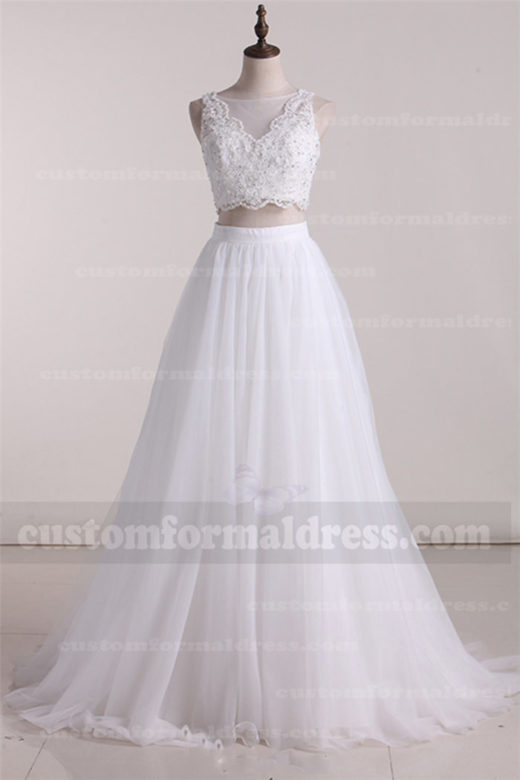 2017 A Line Tulle Two Pieces Wedding Dresses Lace Gowns with Bead FYMX06