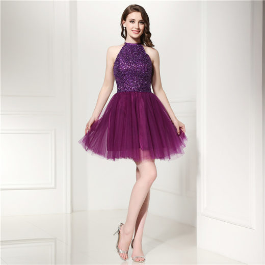 A-Line Pleated Tulle High Neck Beaded Bodice Purple Homecoming Dress [17030] – $156.00 : Unique Designer Women's Clothing & Dresses Shop Online Now For Affordable Styles – Ailsaclothing.com