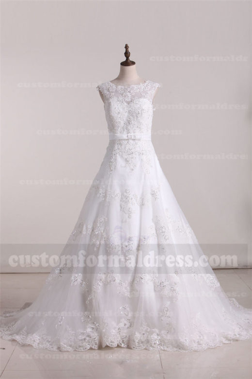 2017 Beaded Lace A Line Wedding Dresses with High Neck FYMX16