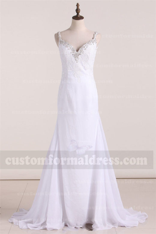 2017 Chiffon Lace Wedding Dresses Bridal Gowns with Straps FYMX11