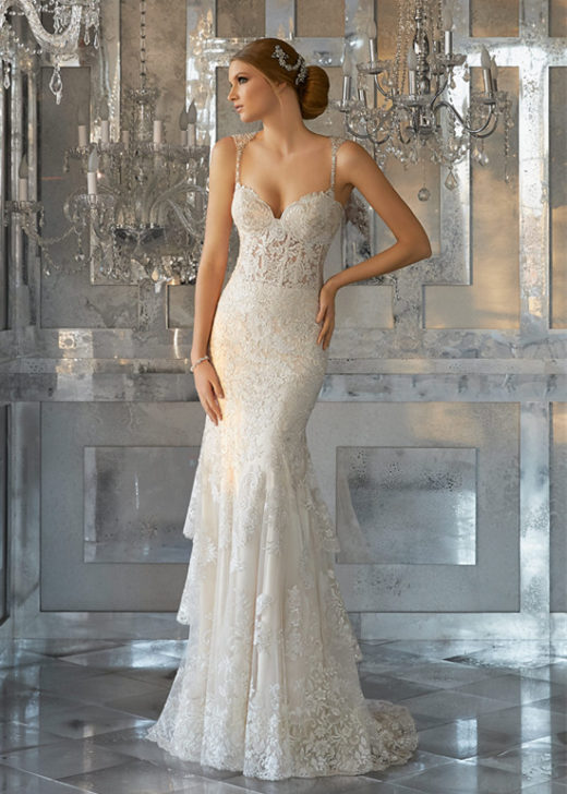 Frosted Embroidered Appliques Scalloped Hemline Beaded Flare Wedding Dress [Mori Lee Bridal 8188] – $339.00 : Prom Dresses 2017,Wedding Dresses & Gowns On Sale,Buy Homecoming Dresses From Ailsadresses.com