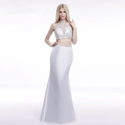 Graceful White Two Piece Halter Neck Crystal Beaded Mermaid Prom Gown [17025] – $155.00 : Unique Designer Women's Clothing & Dresses Shop Online Now For Affordable Styles – Ailsaclothing.com