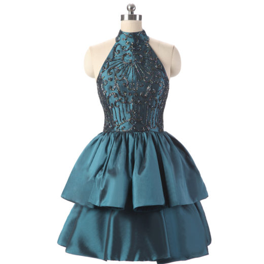 Halter High Neck Beaded Bodice Tiered Short Keyhole Back Homecoming Dress [17014] – $155.00 : Unique Designer Women's Clothing & Dresses Shop Online Now For Affordable Styles – Ailsaclothing.com