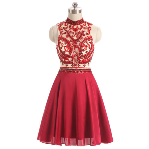 High Neck Sheer Beaded Sexy Short Red Keyhole Back Homecoming Dress [17013] – $159.00 : Unique Designer Women's Clothing & Dresses Shop Online Now For Affordable Styles – Ailsaclothing.com