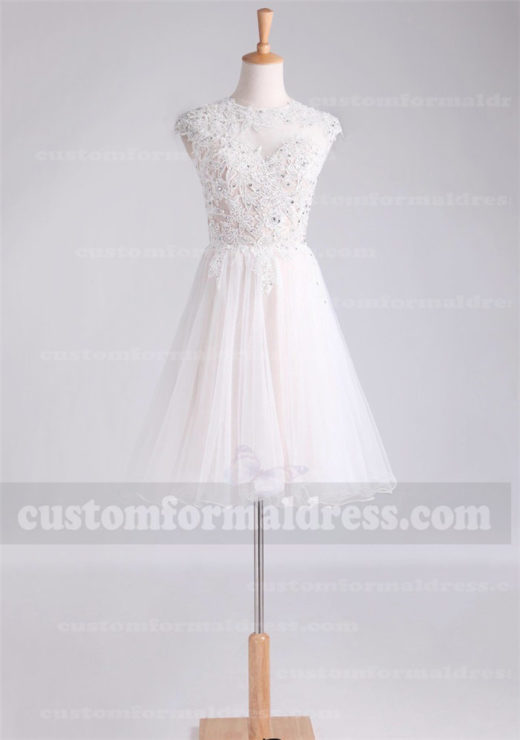 High Neck Tulle Lace Knee Length Wedding Dresses with High Neck FYMX517