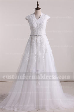 2017 Lace A Line Wedding Dresses with Cap Sleeves FYMX03