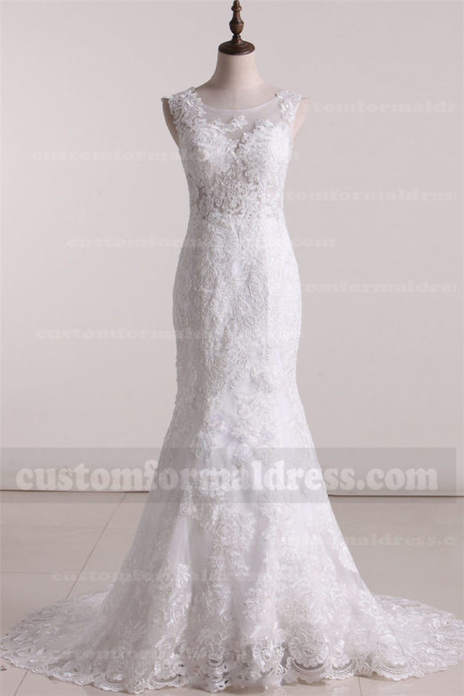 2017 Lace Mermaid Wedding Dresses with High Neckline FYMX22