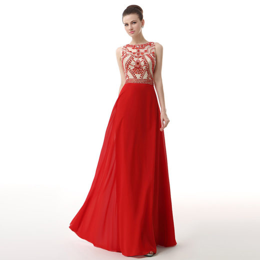 Long Red High Neck Sleeveless Crystal Beaded Chiffon Ruched Prom Dress [17028] – $189.00 : Unique Designer Women's Clothing & Dresses Shop Online Now For Affordable Styles – Ailsaclothing.com