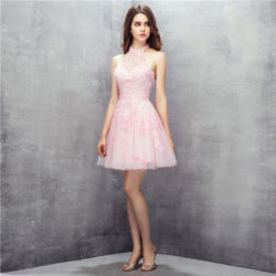 Pink Short Halter High Neck Open Back Lace Tulle Prom Homecoming Dress [17032] – $145.00 : Unique Designer Women's Clothing & Dresses Shop Online Now For Affordable Styles – Ailsaclothing.com