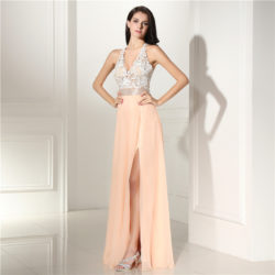 Sexy Coral Chiffon Sheer V-Neck Prom Dresses with Split Side Backless [17018] – $156.00 : Unique Designer Women's Clothing & Dresses Shop Online Now For Affordable Styles – Ailsaclothing.com