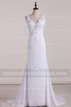 2017 Spandex Lace A Line Wedding Dresses V Neck with Beading FYMX23